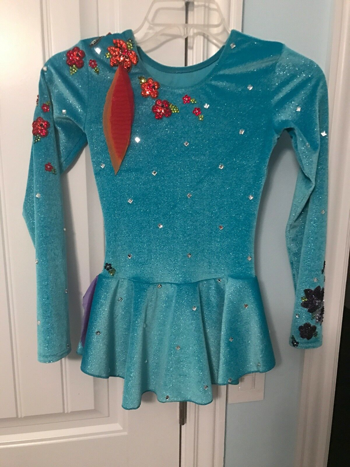 Girls size 8-10 skating dress ONE-OF-A-KIND HANDMADE embroidered blueish-tourquiz