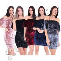 Women Off Shoulder Ladies Bardot Ruffle Crushed Velvet Velour Bodycon Mini Dress