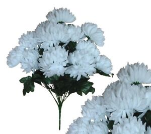 12 5 white ball mums 22 bouquet wedding bridal party home decor image is loading 12 5 034 white ball mums 22 034 mightylinksfo