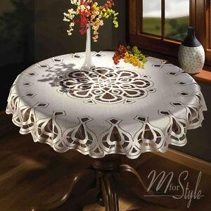 Cream-or-White-Tablecloth-Round-Lace-49-034-125cm-Premium-Quality