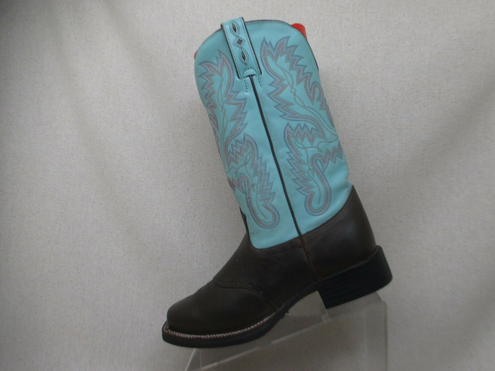 Justin JST Brown Baby Blue Leather Stockman Cowboy Boot Size 8 C Style L4853