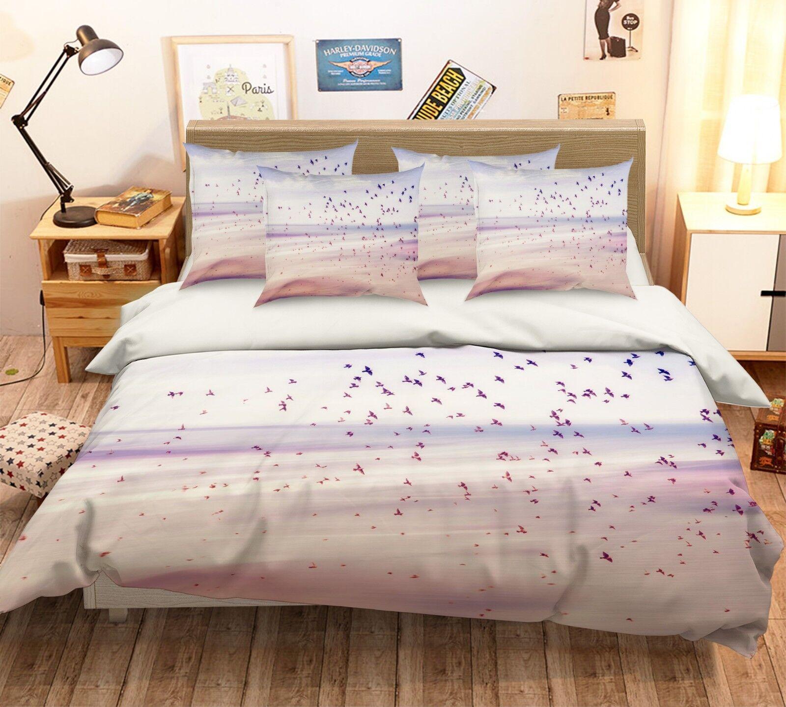 3D Fly Birds Beach 16 Bed Pillowcases Quilt Duvet Single Queen King US Summer
