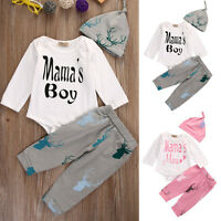 3PCS Set Newborn Baby Girl Boy Tops Romper +Long Pants Hat Outfits Clothes 0-18M