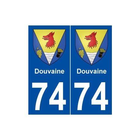 74 Douvaine blason autocollant plaque stickers ville -  Angles : droits