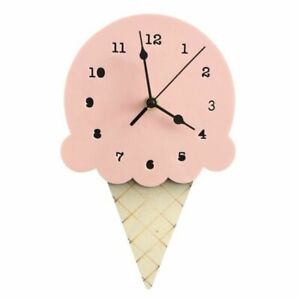 Ice-Cream-Shaped-Wood-Wall-Clock-Silent-Non-Ticking-Decorative-Battery-Powered