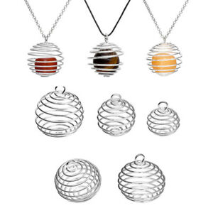 Silver-Plated-Spiral-Bead-Cages-Pendants-Jewelry-Craft-DIY-Making-Findings-FS