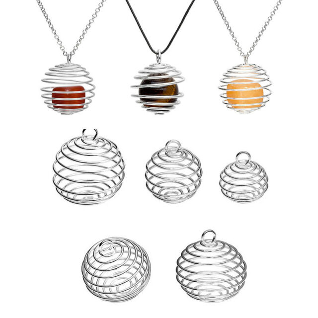 Spiral Silver Plated Spiral Bead Cages Pendants DIY Making Finding Jewelry