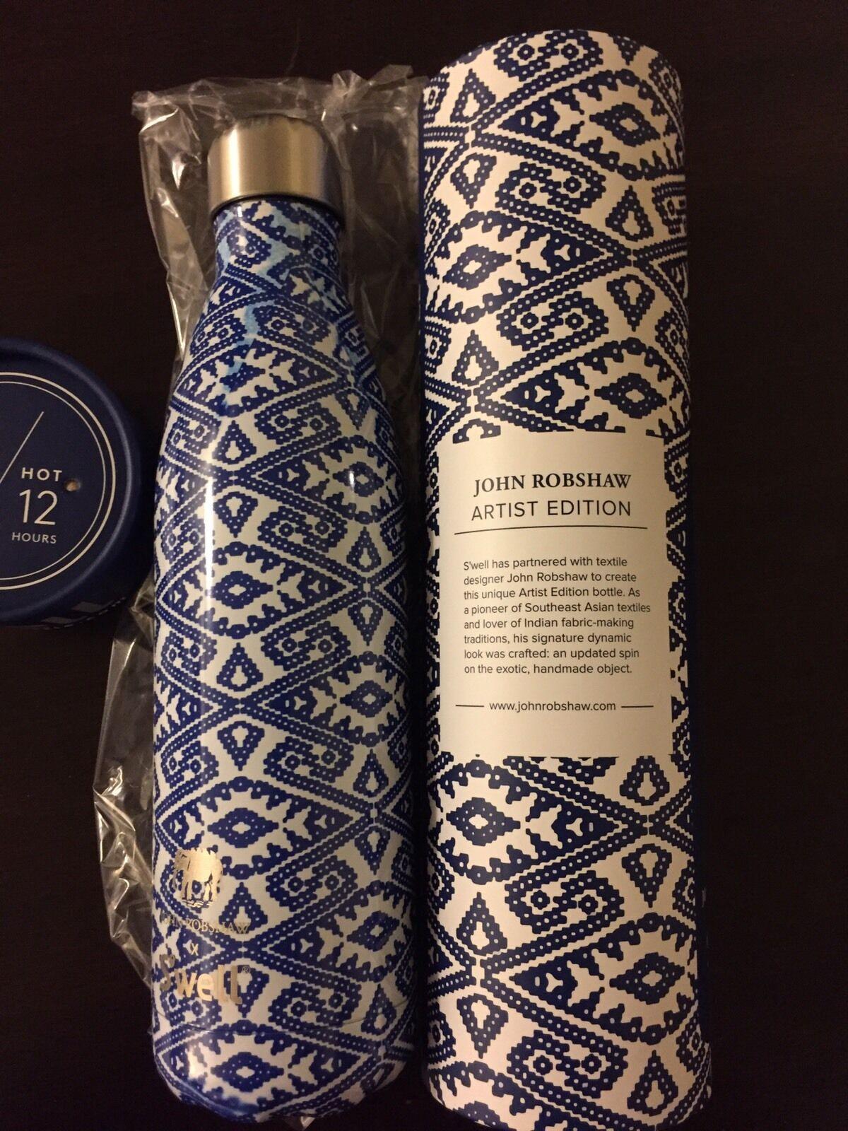 S'well Bottle by John Robshaw 25 oz bluee Vati Limited Edition NIB