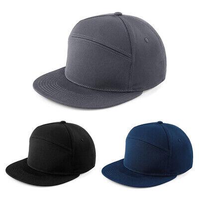 Baseball Cap Black Plain Classic Retro Hip Hop Flat Peak Snapback Adjustable Hat
