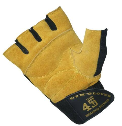 Mens Heavy Duty Weightlifting Gym Cycling Outdoor Leather Sports Gloves Strap