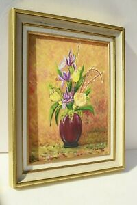 VINTAGE FRENCH OIL ON CANVAS PAINTING STILL LIFE FLOWERS SIGNED