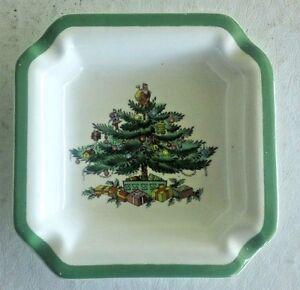 Green Trim 4 Square Ashtray Christmas Tree by Spode