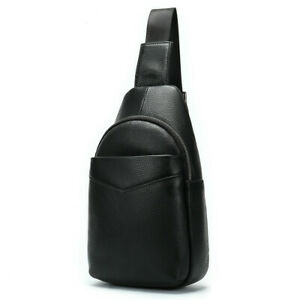 Men-Real-Leather-Travel-Hiking-Sling-Chest-Bag-Cross-Body-Shoulder-Sports-Pack