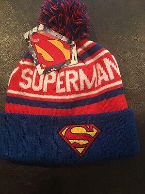 Men/'s NEW Superman DC Comics Adult Cuffed Winter Pom Hat Cap Beanie