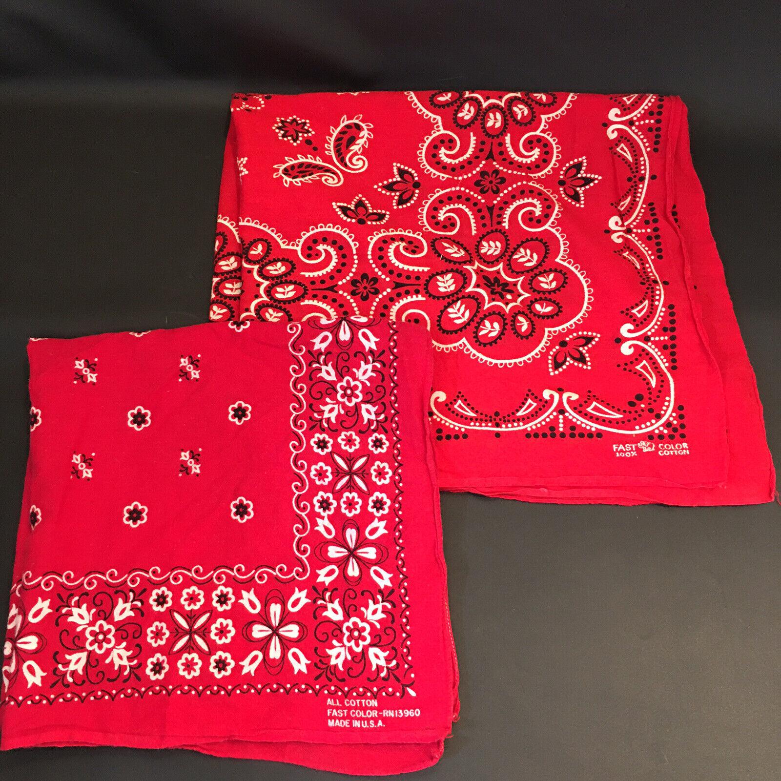 Vintage Red Bandana Lot of 2 Fast Color 20