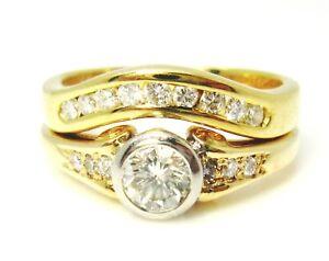 18ct-750-18K-Yellow-White-Gold-0-65ct-Diamond-Engagement-and-Wedding-Rings