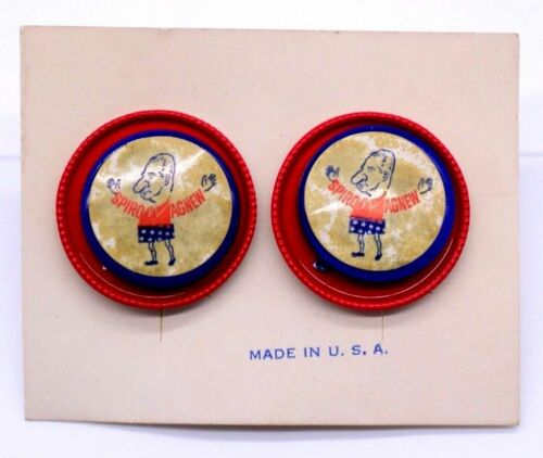 RARE Vintage Spiro Agnew Red White /& Blue Pin Brooch  With Clip On Earrings