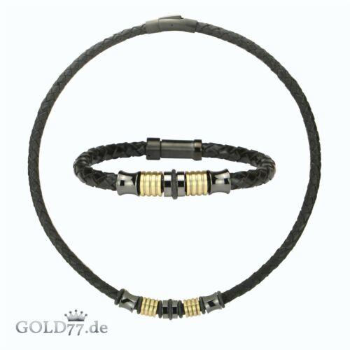 Lederkette Armband ECO-Vintage Beads Edelstahl Grafit//MessingSet oder einzeln