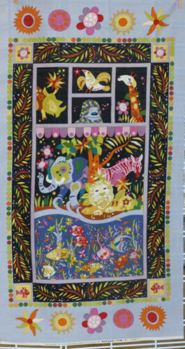 Jungle Animals /& Tropical Fish Fabric Panel Alexander Henry Piece-able Panel