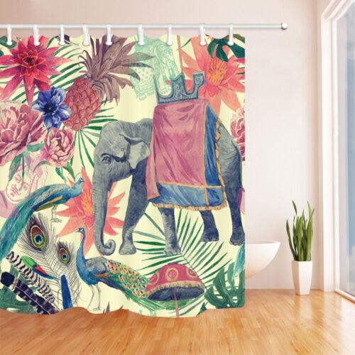 "Elephant and Pineapple Flower Bathroom Fabric Shower Curtain Set Waterproof 71/"""