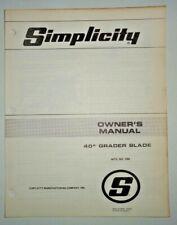 Simplicity 298 40 Grader Blade Owners Parts Manual Catalog Book Original