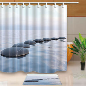 Zen Stone Bathroom Shower Curtain Waterproof Fabric W 12 Hooks 180