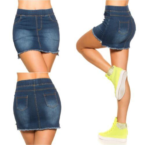 Damen Mini stretch Jeans Denim Rock Minirock mit bequemen Gummibund