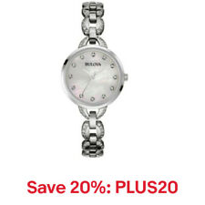Bulova Women's Quartz Crystal Accent Silver-Tone Bracelet 28mm Watch 96L203