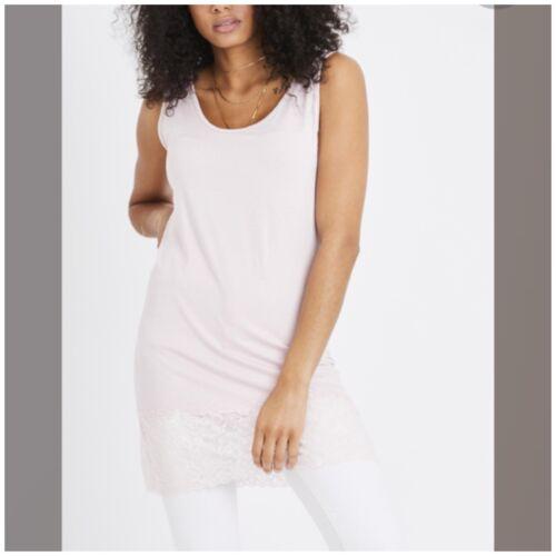 Longline Vest //Cami Lace bottomed Stretch Jersey one size fits 10-16