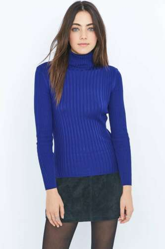 Blue XS RRP £29 New Urban Outfitters Cooperative Ribbed Turtleneck Top Jumper