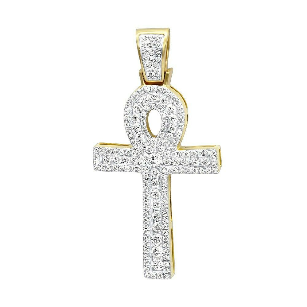 4Ct Round Cut Diamond Cluster Celtic Cross Pendant 14K Yellow gold Over NO CHAIN