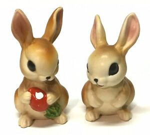 Vintage-Josef-Originals-Rabbits-Easter-Bunnies-2-Miniature-Figurines-Japan-EC