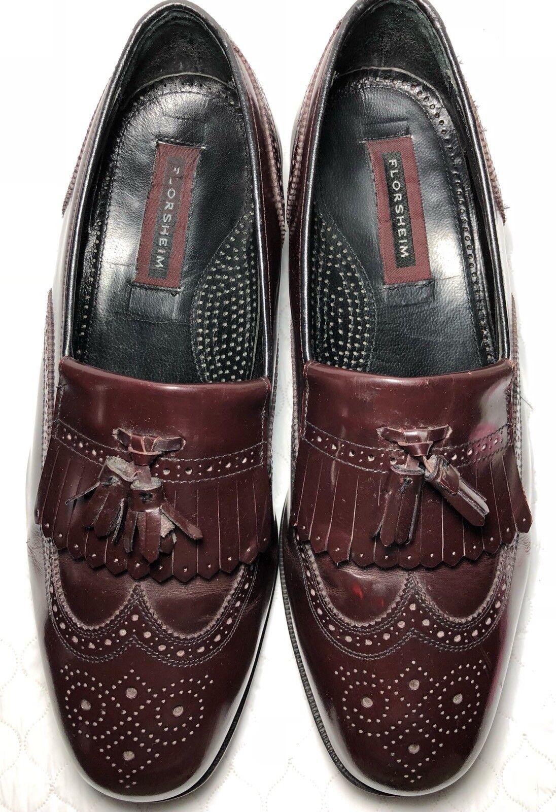Florsheim Men's Lexington Tassel Long Wing Tip Dress  shoes Burgundy Size-10.5