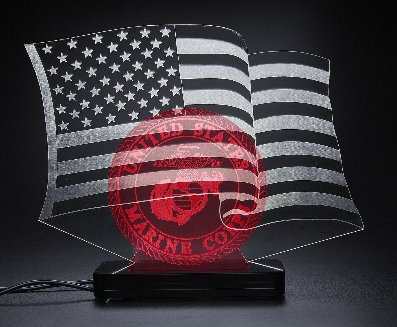 United States Marines,American Flag, LED Desktop Bar Lamp