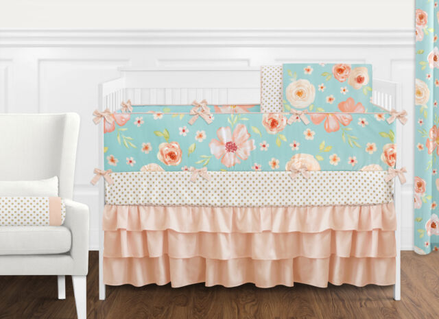 Gia Floral Coral//Aqua Patchwork 4-In-1 Baby Girl Crib Bedding Collection