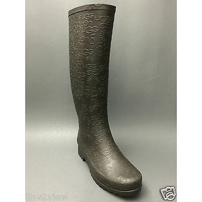 Ugg Australia Wilshire Logo Tall Women Boots 3386 Charcoal Rain Boots Size 5 US