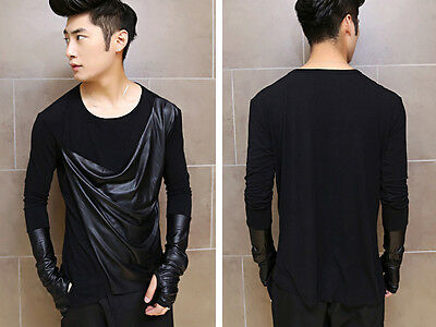 Men's Special Crewneck Coated Asymmetric Mod Long Sleeve T Shirt Top With Gloves
