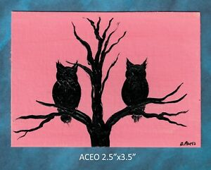Original-ACEO-Owl-miniature-acrylic-painting-not-framed