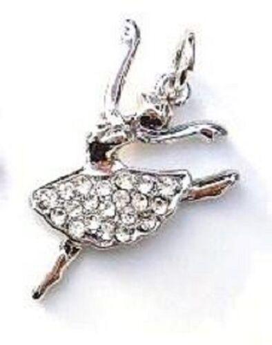 10 Ballet Dancer Ballerina Crystal Rhinestone Silver Plated Charm//Pandent K91