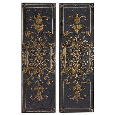 "Set 2 Embossed Wall Panels Black Gold 46"" Scrolling Wood Art Tuscan Traditional"