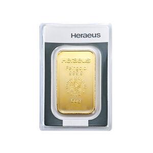 50 Gramm Goldbarren Heraeus Gold 999,9 Feingold Barren - 15 Euro Rabatt ab 3 St.