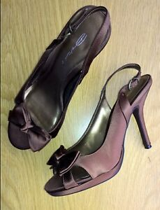 Shoes-evening-wedding-party-sling-back-chocolate-brown-size-39