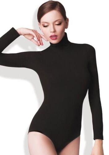 Donna senza Cuciture Body collo Alto Maniche Lunghe a Tartaruga Nero Bianco