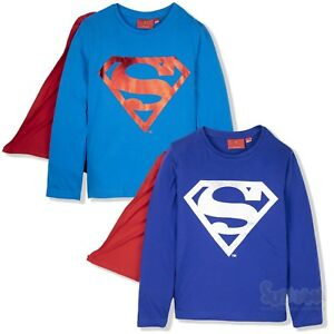 0d9d43131437a Superman Super Hero Boys Long Sleeve Top T Shirt with CAPE 2-8 years ...