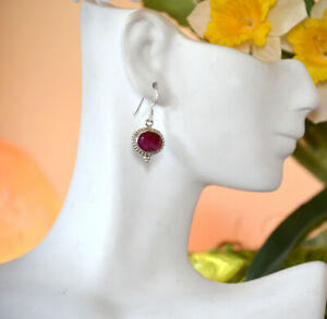 Sterling-Silver-Natural-Ruby-Gemstone-Dangle-Drop-Hook-Earring-Jewelry