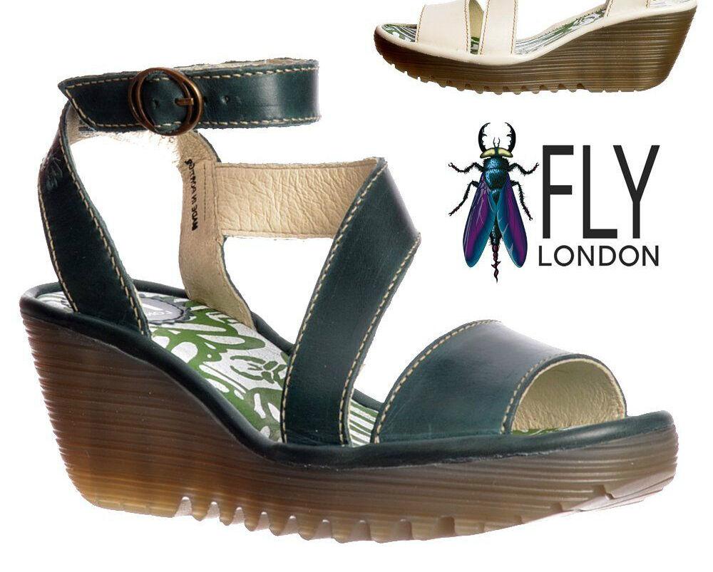 FLY di Londra nuovo in pelle nera tacco a Scarpe zeppa e Yesk Sandali Scarpe a Cinturino alla Caviglia 8 41 55aaf1