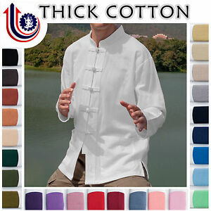 Traditional-Chinese-Shirts-Long-Sleeve-Solid-White-100-Cotton-Natural-Trades