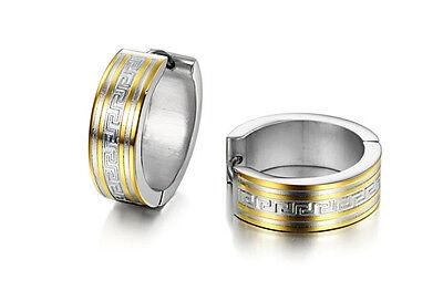 2014 pair titanium Steel mens classic shining Earring free gold gift 415