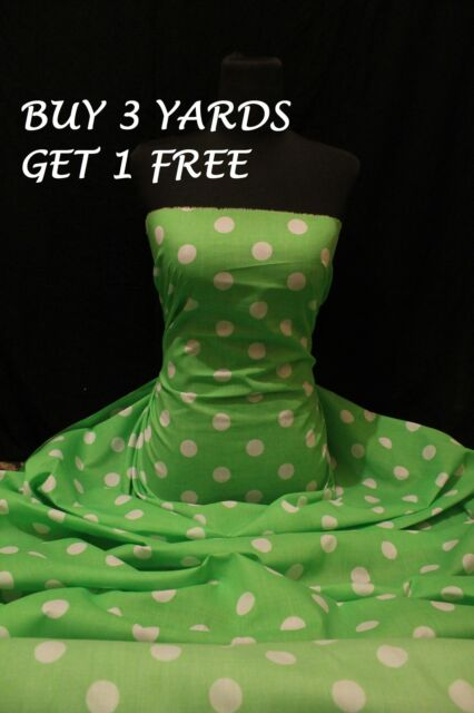 Cotton Print Lime Green White Polka Dot Spot Dress-Making Crafts Fabric Material