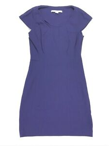 Diane-Von-Furstenberg-Women-s-Sheath-Dress-Cap-Sleeve-Royal-Blue-Size-10